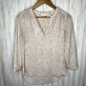 Dalia  hi low blouse XS pale pink animal print